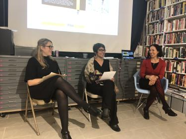 "Elena Cohen, Deepti Misri & Melissa Forbis, co-editors of the special ""Protest"" issue of WSQ"