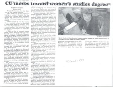"Newspaper article titled ""CU moves toward women's studies degree"""