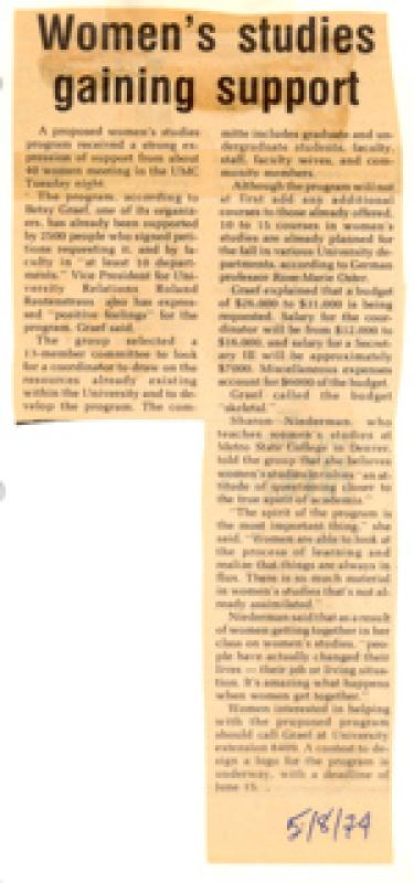 "Newspaper article titled ""Women's studies gaining support"""