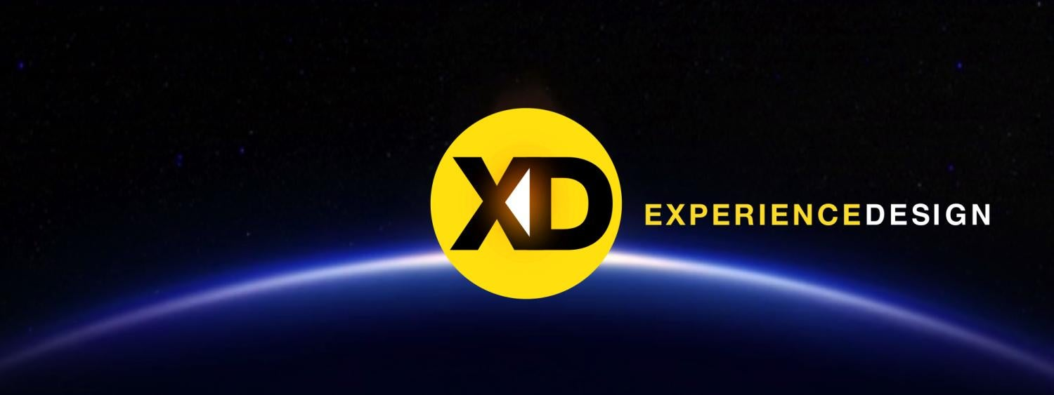 The Experience Design logo, a yellow circle with the letters X and D inside, floats above a blue horizon next the words Experience Design